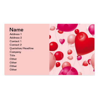 Valentine Balloons (4), Name, Address 1, Addres... Double-Sided Standard Business Cards (Pack Of 100)