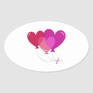Valentine Balloons Oval Stickers