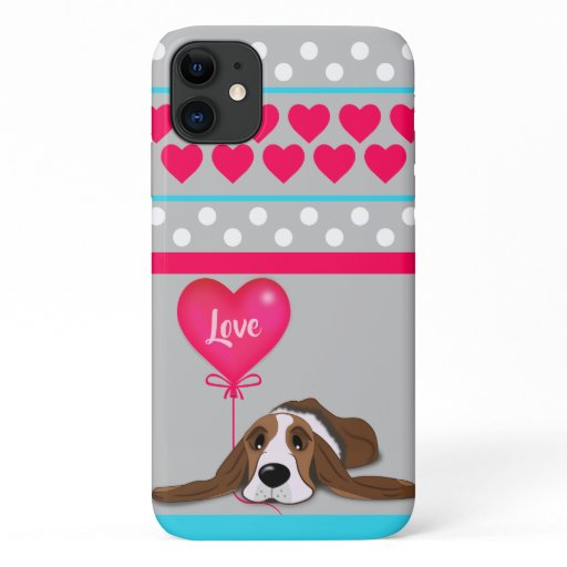 Valentine Basset Hound iPhone 11 Case