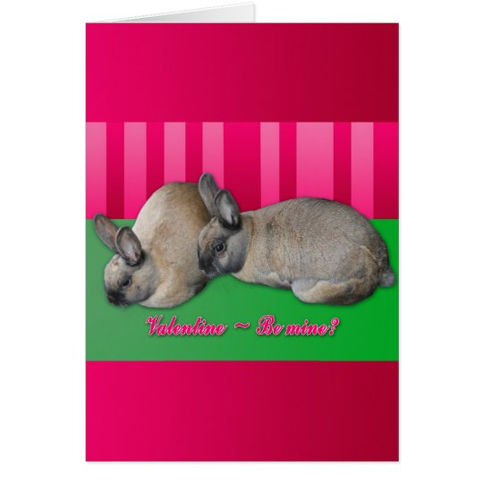 Valentine be mine, I love you, two bunnies Card