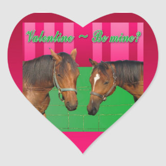 Valentine Be Mine I Love You Two Horses Heart Sticker
