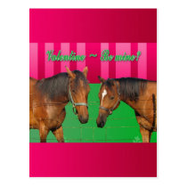 Valentine Be Mine I Love You Two Horses Postcard