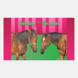 Valentine Be Mine I Love You Two Horses Rectangular Sticker