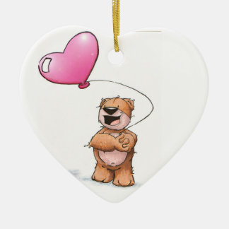 valentine bear ceramic ornament
