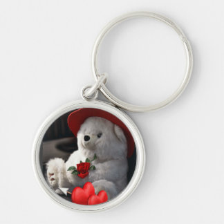 Valentine Bear with heart hat and flower  Keychain