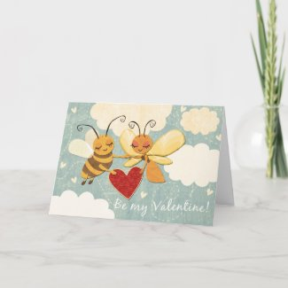 Valentine Bee & Butterfly Greeting Card