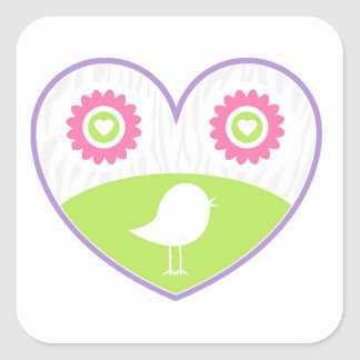 Valentine Bird Flower Heart Square Sticker