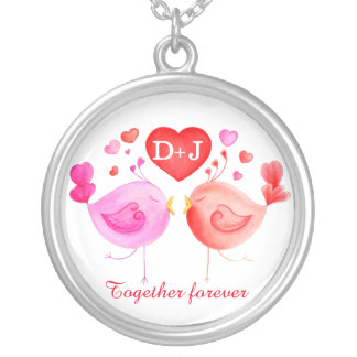 Valentine bird whimsical art personalized necklace