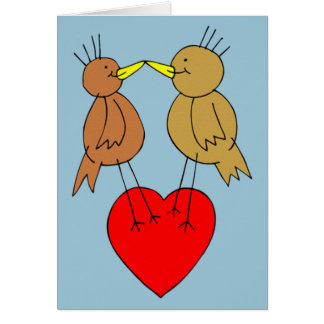 Valentine Birds on a Heart Card
