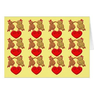 Valentine Birds on a Heart Pattern Card