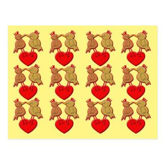 Valentine Birds on a Heart Pattern Postcard