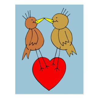 Valentine Birds on a Heart Postcard