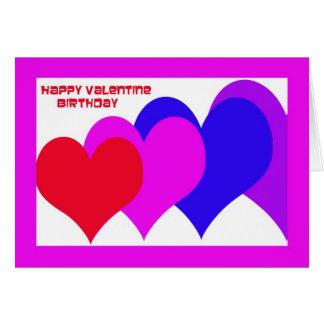 Valentine Birthday Card -- Birthday Hearts