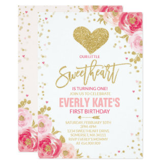 Valentine Birthday Invitation Sweetheart Pink Gold