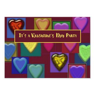 Valentine Block of Hearts Party Invitation