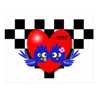 Valentine blue bird postcard