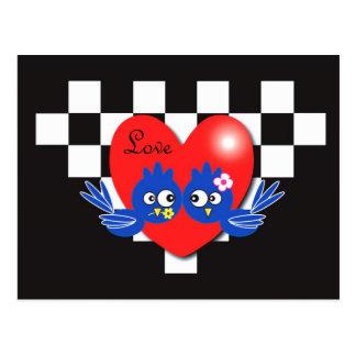 Valentine blue birds postcard