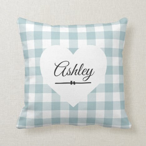 Valentine Blue Gingham White Heart Monogram Name Throw Pillow
