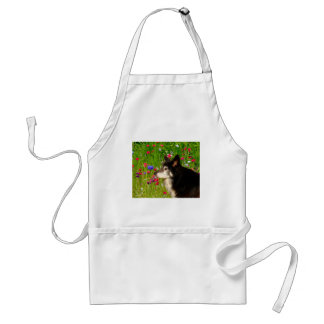 Valentine Border Collie with beautiful flowers Adult Apron
