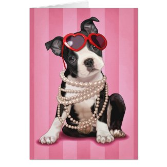 Valentine Boston Terrier Greeting Card