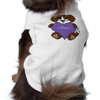 Valentine Brown Dog with Blaze & Purple Heart T-Shirt