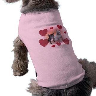 Valentine bulldogs dog tee shirt