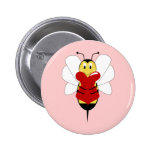 Valentine Bumble Bee Button