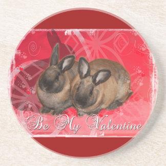 Valentine Bunnies: Be My Valentine Beverage Coasters