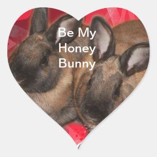 Valentine Bunnies: Be My Valentine Heart Sticker