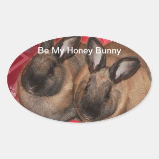 Valentine Bunnies: Be My Valentine Oval Sticker