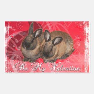 Valentine Bunnies: Be My Valentine Rectangular Sticker