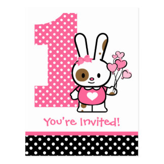 Valentine Bunny 1st Birthday Invitation Postcard