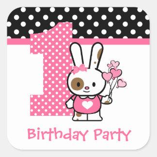 Valentine Bunny 1st Birthday Square Sticker