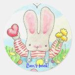 valentine bunny bookplate classic round sticker