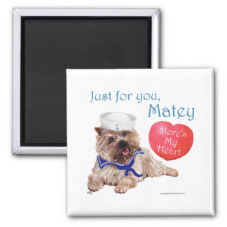 Valentine Cairn Terrier 2 Inch Square Magnet
