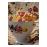 Valentine Candy and Rose Teacup Greeting Card