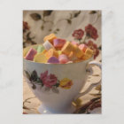 Valentine Candy and Rose Teacup Holiday Postcard