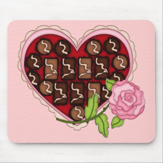 Valentine Candy Heart Pink Rose Mouse Pad