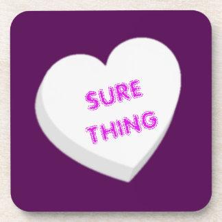 Valentine Candy Heart - White Beverage Coaster