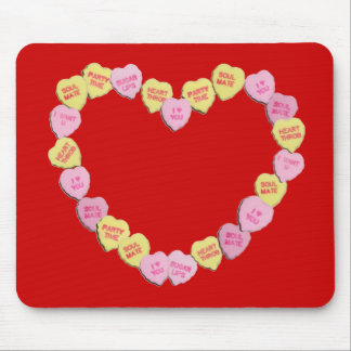 Valentine Candy Hearts Heart Mouse Pad