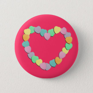 Valentine Candy Hearts Heart Pinback Button