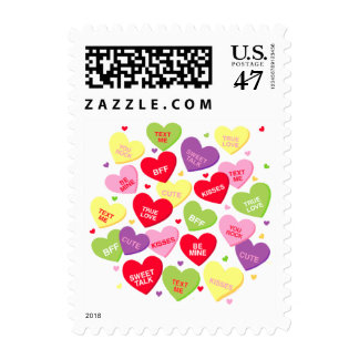 Valentine candy hearts messages Postage