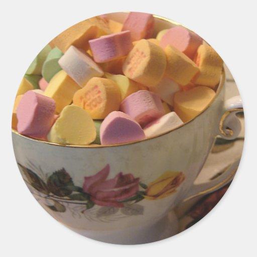 Valentine Candy in Teacup Classic Round Sticker