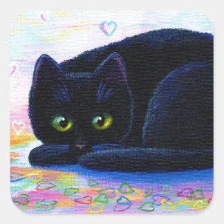 Valentine Cat Colorful Hearts Creationarts Square Sticker