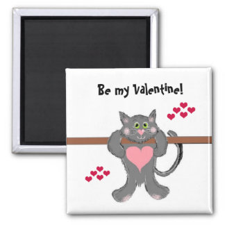 Valentine Cat with Hearts Magnet
