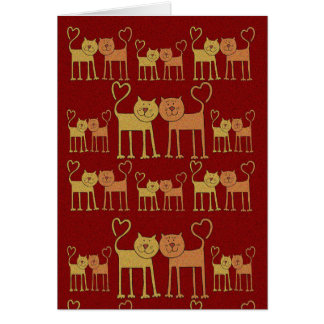 Valentine Cats in Love Grain Texture Card