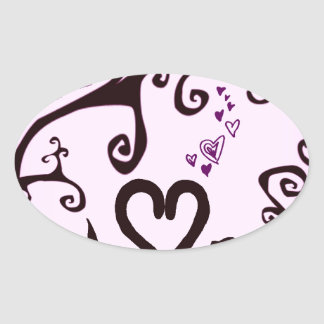 valentine cats oval sticker