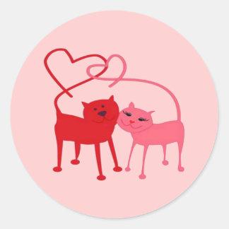 Valentine Cats Round Sticker
