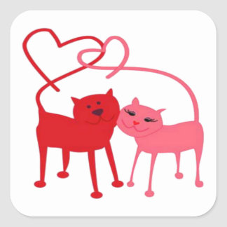 Valentine Cats Square Sticker
