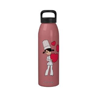 Valentine Chef Girl Water Bottle